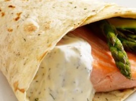 Poached Salmon & Roasted Asparagus Cone